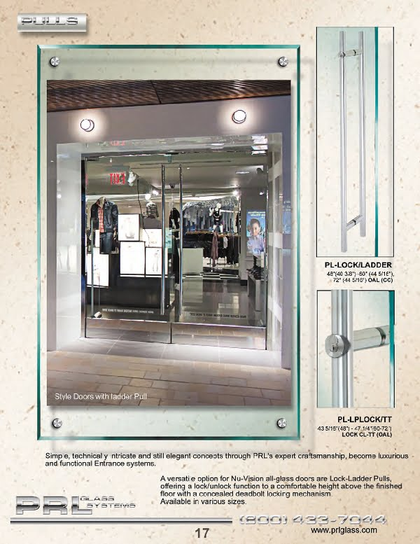 As a Glass Door Hardware Manufacturer, PRL offers a wide selection of hardware for glass and metal entrance systems.
