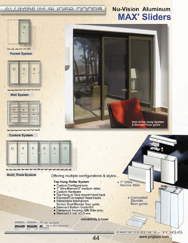 Aluminum sliding doors are offered in multiple configurations and styles.