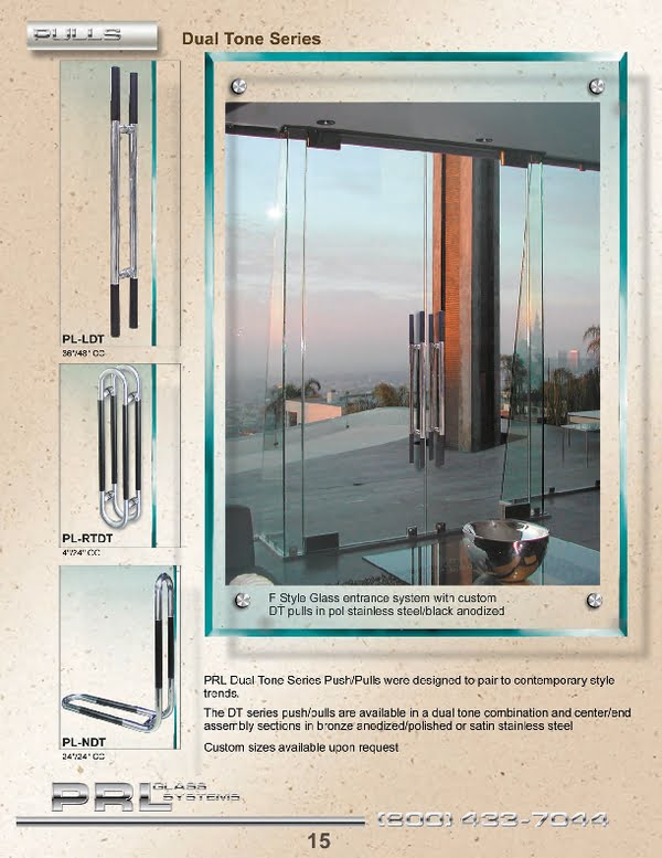 PRL's Commercial Door Dual Tone Pull Handles can be used on Glass Doors and Full Framed Doors.